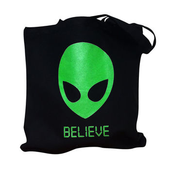 Alien BELIEVE Tote Bag - 90's UFO Martian Totebag