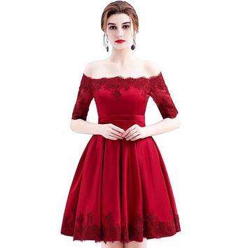 Wine Red Lace Embroidery Luxury Satin Half Sleeved short Evening Dress Elegant Banquet Prom Dress
