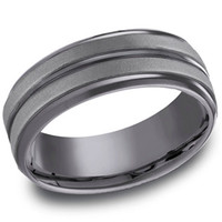 "Benchmark ""Tantalum"" 8mm Comfort Fit Grey & Black Men's Wedding Band"