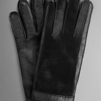 Calfskin Detail Leather Gloves