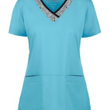 Grey's Anatomy Active V-Neck Sport Scrub Top | Print Trim Scrubs