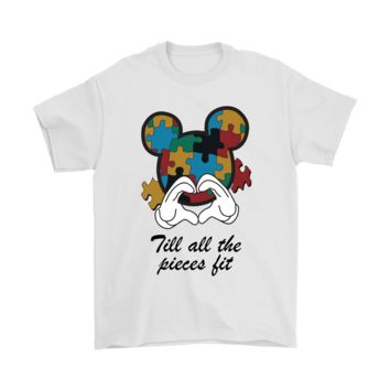 PEAP8HB Mickey Till All The Pieces Fit  Autism Awareness Shirts