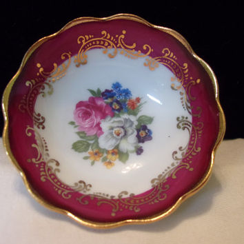 "Limoges France 2.5"" Miniature Salt Finger Bowl Porcelain Dish Flowers Ruby Red & Gold"