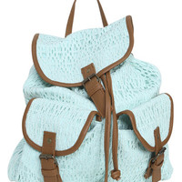 Crochet Leatherette Trim Backpack | Shop Summer Roadtrip at Wet Seal