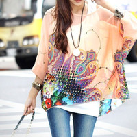 Women Batwing Sleeve Gird Plus Size Shirt Blouse  E3418