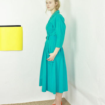 80s Teal Shirt Dress full skirt midi dress shirtwaist dress size 6