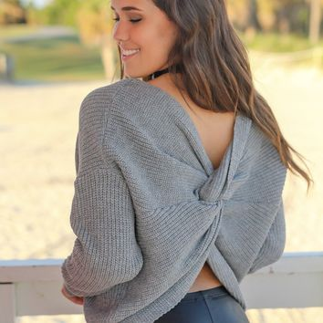 Gray Knit Sweater with Twist Detail