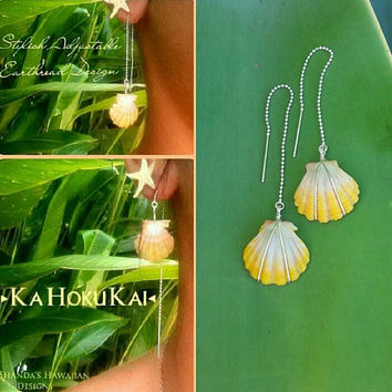 Sunrise Shell Ear Thread Earrings Sterling Silver