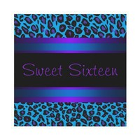 Purple Teal Leopard Sweet 16 Birthday Party Personalized Announcement from Zazzle.com