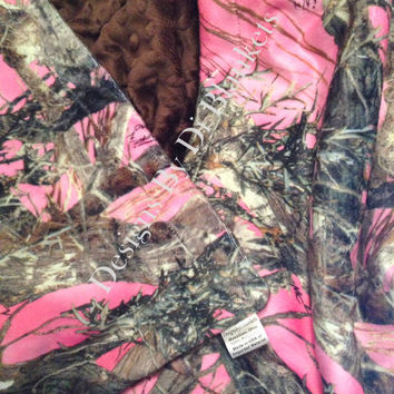 Camo Toddler  Minky Blanket Pink Camouflage Minky Dot  Toddler Size 40 x 50