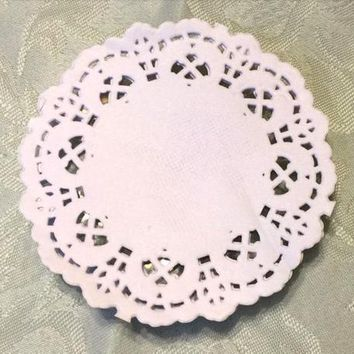 100 x Round White Greaseproof Paper Doilies 85mm. Perfect for Easter,  Christmas and New Year Parties. The Ideal Table Decoration Placemat