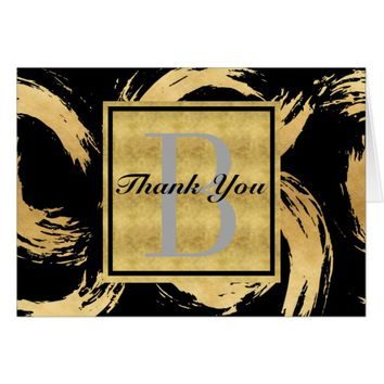 Glam Gold Brush Strokes Monogrammed Thank You Card