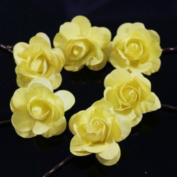 Set of 6 Yellow Small / Petite Roses Hair Bobby by OliniFloral