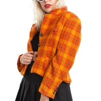 Vintage 80's Orange Burberry Heather Blazer - XS/S/M