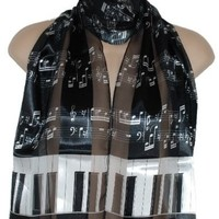 Satin Stripe Musical Instrument Scarf/Sash/Belt:Black & White Piano & Notes