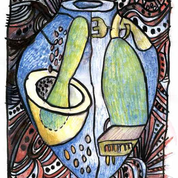 MAGIC JAR - Fine Art - Original Watercolor Pencil -  Contemporary Painting - ElizabethAFox