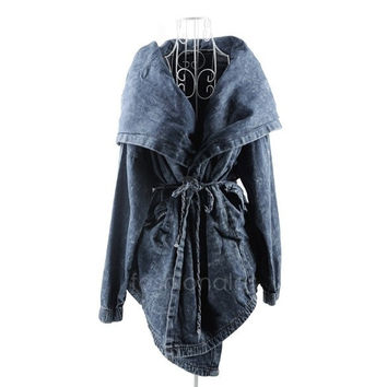 Women's Hot Denim Trench Coat Hoodie Outerwear Hooded Jeans Coat Jacket New FT