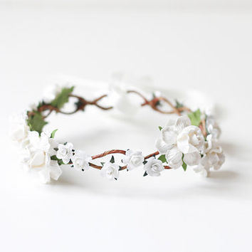 white bridal headpiece, rose hair wreath, flower crown headband, floral, whimsical, romantic, pastel.