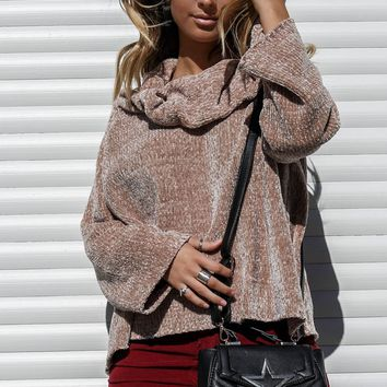 Loving You Chenille Taupe Knit Sweater