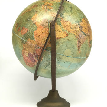 Antique World Globe, Replogle Globe, Stereo Relief Globe, Desk Globe, Vintage Replogle World Globe, Antique Globe, Vintage Office Decor