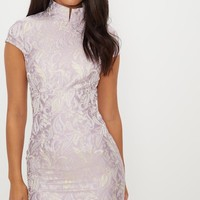 Lilac Jacquard Oriental Bodycon Dress