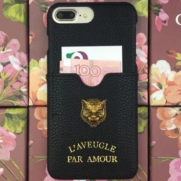 Gucci Metal tiger head iphone6 / 7/8 phone shell Apple 7/8 multi-function card phone