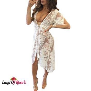 Women Long Lace Sexy Cardigan Nightgown