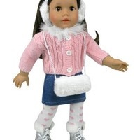 American Girl Doll Size 5 Pc. Set of 18 Inch Doll Clothes Made by Sophia's: (Ice Skates Sold Separately) 18 Inch Chenille Doll Sweater, Denim Skirt, Heart Tights, White Muff & Earmuff/Headband