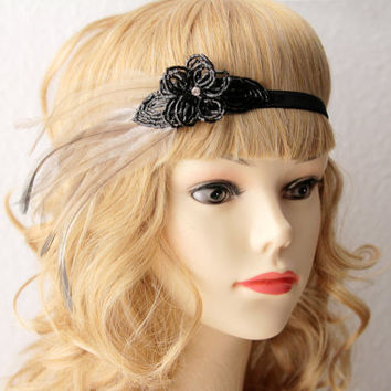 Great Gatsby Headband - Black Beaded Feather Hairpiece Headpiece  - 20's 1920 Inspired Art Deco Flapper Head Band