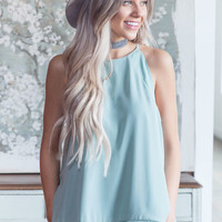 Sage Layered Sleeveless Top with Crochet Hem Detail