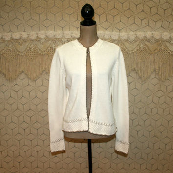 80s 90s Womens Cardigan Sweater Medium White Cardigan Cotton Cardigan Open Cardigan Vintage Cardigan Liz Claiborne Vintage Clothing