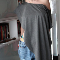 "Handmade plus size oversized all sizes grey elastic cotton maxi tunic/top/t-shirt/tank top ""Freedom"""