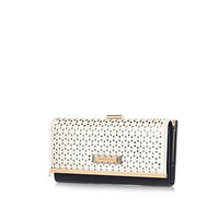 River Island Womens White laser cut clip top purse