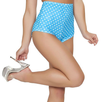 Turquoise and White Pinup Style High-Waisted Shorts