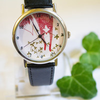 Red Fox and clover wrist watchWomen Watches,Wrist watch,Leather watch, Fox watch, Ireland trefoil watch, Fox and clover wrist watch