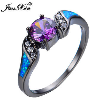 JUNXIN New Fashion Blue Opal White Round Zircon Amethyst Ring Black Gold Filled Wedding Jewelry For Women Anelli Donna