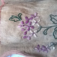 Antique French Linen Wall Pocket, Embroidered Purple Flowers, Circa 1910