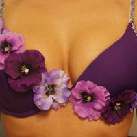 Purple Rhinestone Flower Bra Any Cup Size by JewelzDancers