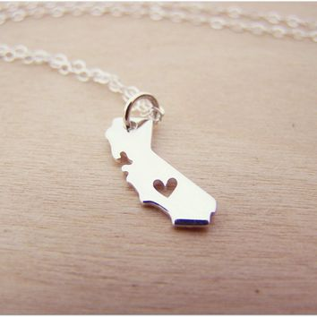 Dainty Sterling Silver California State Heart Necklace / Gift for Her - Simple Jewelry - CA State Necklace - Tiny California Charm