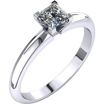 Certified Four Prong Solitaire 3/4Ct. Princess Cut Diamond Engagement Ring