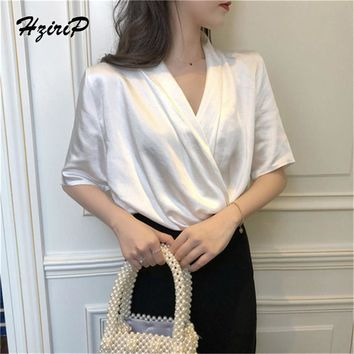 Hzirip 2018 New Women Solid White Office Work Shirts Female Elegant High Quality Silk Satin Long Sleeve Loose Party Blouse Tops