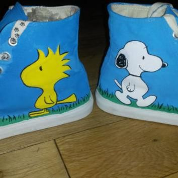 Snoopy and Woodstock Peanuts Inspired Handpainted Converse Style Baseball Shoes UK siz