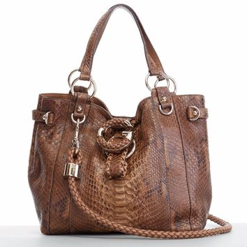 GUCCI G Wave brown python braided leather strap medium shoulder hobo tote bag
