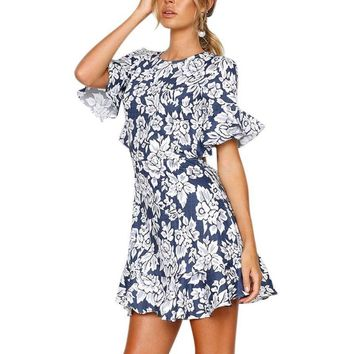 New Ruffle Cuff Floral Print Dress Women Sexy Backless Flounce Sleeve High Waist Short Dress Summer A-line Beach Dress