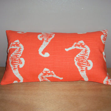16x9 Salmon Coral Sea Horse Decorative Mini Lumbar Pillow Cover - Same Fabric Both Sides