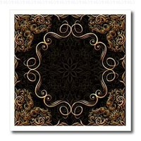 Bev Newcomer Florals and Swirls - Elegant Gold Design on a dark chocolate brown damask background - 10x10 Iron on Heat Transfer for White Material (ht_113827_3)