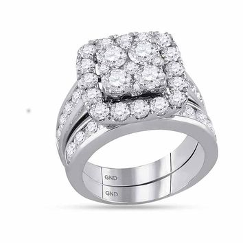 14kt White Gold Womens Round Diamond Square Cluster Bridal Wedding Engagement Ring Band Set 4-1/4 Cttw