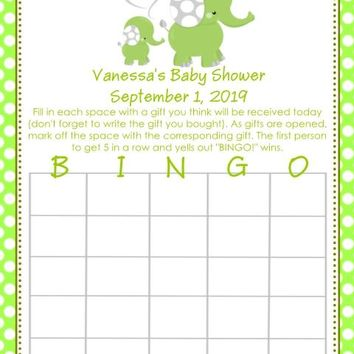 10 Green Elephant Baby Shower Bingo Cards