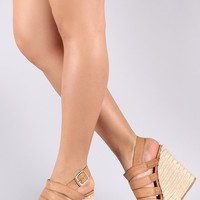 Bamboo Strappy Slingback Espadrille Platform Wedge