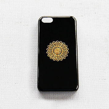 Hippie Case iPhone 5c Phone Black Gold Cases Vintage Hippie Mandla Gift Idea for Him or Her Birthday Present Party Favor Gold Hipster Case